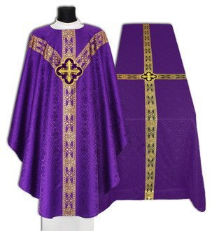 Set of Purple Semi Gothic Chasuble with Funeral Pall FUGY210-F25