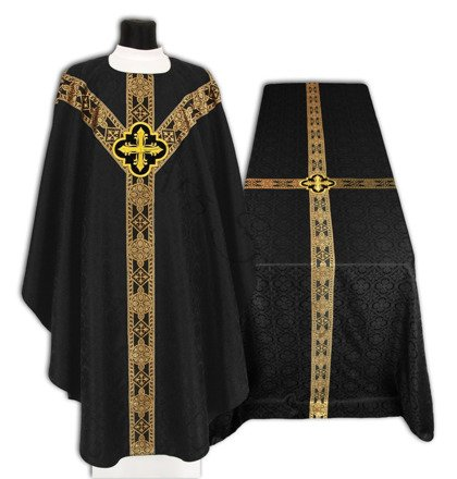 Set of Black Semi Gothic Chasuble with Funeral Pall FUGY210-CZ25